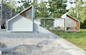 Farmhouse with vegetation
